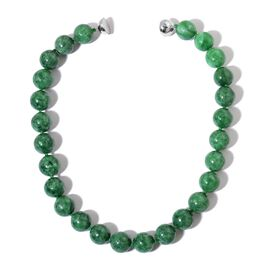 Very Rare Burmese Green Jade Bead Necklace (Size 20) (Round 15-16 mm) with Magnetic Clasp in Rhodium Plated Sterling Silver 1000.00 Ct.