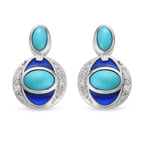 Arizona Sleeping Beauty Turquoise and Natural Cambodian Zircon Enamelled Earrings (with Push Back) i