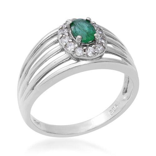 Kagem Zambian Emerald (Ovl 6x4mm), Natural Cambodian Zircon Ring  in Rhodium Overlay Sterling Silver 0.87 Ct.