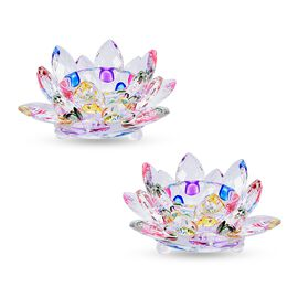 2 Piece Set Crystal Lotus Candle Holder Multi Colour Size 11x5 Cm