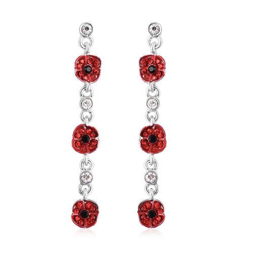 TJC Poppy Design - Multi Colour Austrian Crystal Enamelled Poppy Dangle Earrings (with Push Back) in Silver Tone