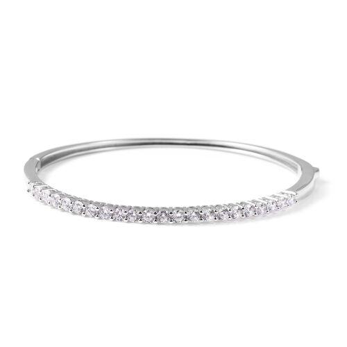 ELANZA Simulated Diamond Stacker Bangle in Rhodium Plated Silver 9.95 Grams 7.5 Inch