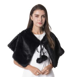 Black Colour Faux Fur Collar Wrap with Pom Pom (Size 63x32 Cm)