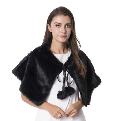 Black Colour Faux Fur Collar Wrap with Pom Pom (Size 63x32 Cm)
