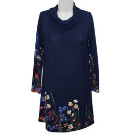 SUGAR CRISP Navy Floral Cowl Neck Tunic Dress