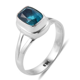 Royal Bali Collection Capri Blue Quartz (Cush) Solitaire Ring in Sterling Silver 2.678 Ct. Silver wt 3.88 Gms.
