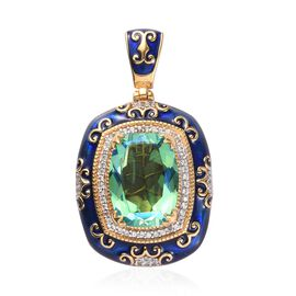 GP - Peacock Quartz, Natural Cambodian Zircon and Blue Sapphire Enamelled Pendant in Platinum and Ye