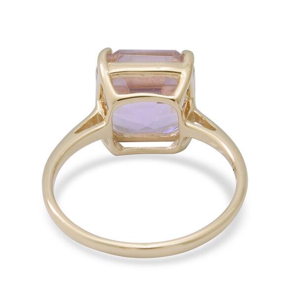 9K Yellow Gold Martha Rocha Kunzite (Asscher Cut) Solitaire Ring 5.81 Ct.