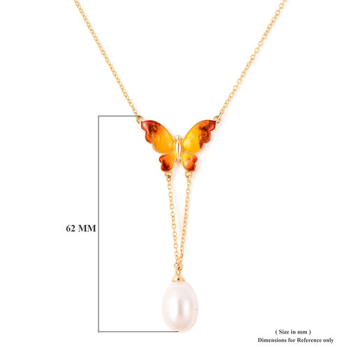 GP - Freshwater Pearl and Blue Sapphire Enamelled Butterfly Lariat Necklace (Size 20) in Yellow Gold Overlay Sterling Silver