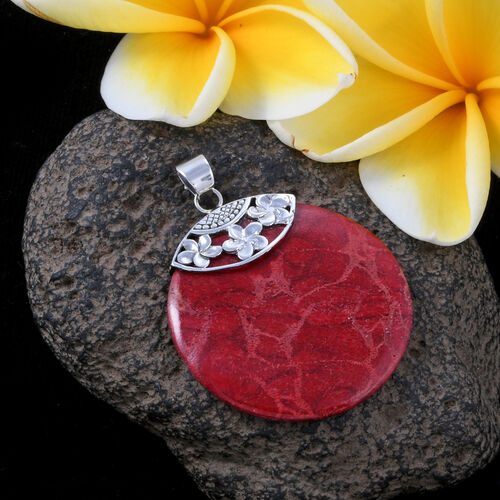 Royal Bali Collection -Sponge Coral (Rnd) Pendant in Sterling Silver