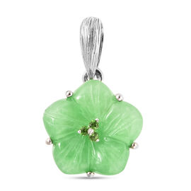 Green Jade and Russian Diopside Floral Pendant in Rhodium Overlay Sterling Silver 6.800 Ct.