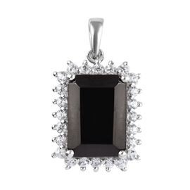 5.75 Ct Elite Shungite and Cambodian Zircon Halo Pendant in Platinum Plated Sterling Silver