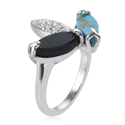 GP - Boi Ploi Black Spinel, Mojave Blue Turquoise and Multi Gemstone Leaf Design Ring in  Platinum Overlay Sterling Silver 3.75 Ct.