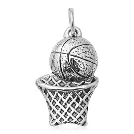 One Time Deal- Sterling Silver Basket Ball and Net Charm
