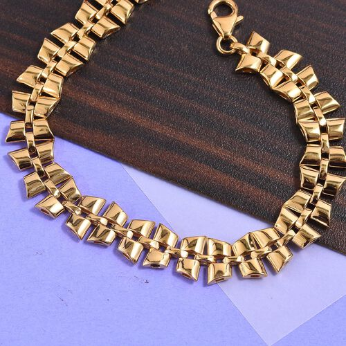 RACHEL GALLEY- Link Collection-  14K Gold Overlay Sterling Silver Bracelet (Size 8)