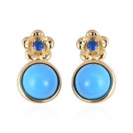 2.90 Ct Arizona Sleeping Beauty Turquoise and Neon Apatite Drop Earrings in Gold Plated Silver