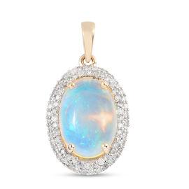 9K Yellow Gold AA Ethiopian Welo Opal and Diamond Halo Pendant 4.77 Ct.