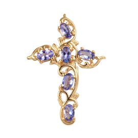 Tanzanite Filigree Cross Pendant in Gold Plated Sterling Silver 1.25 Ct.