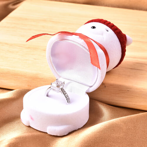 Set of 2 - Snowman Velvet Ring Box with Red and Purple Hat (Size 6x4cm)