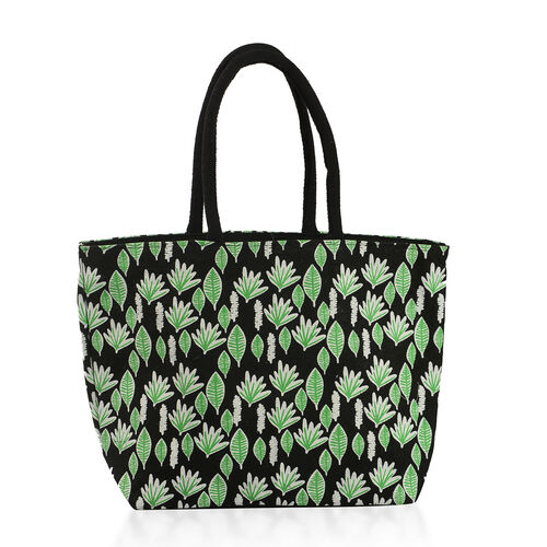 100% Cotton Off White, Pink and Multi Colour Flower and Leaves Pattern Apparel (Free Size), Cap (Size 36x34 Cm) and Leaves Pattern Jute Handbag (Size 48x40x34x15 Cm)
