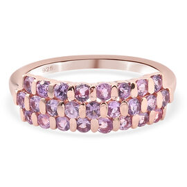 Purple Sapphire Ring in Rose Gold Overlay Sterling Silver 1.19 Ct.