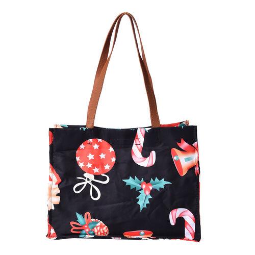 Christmas Theme Tote Bag with Zipper Closure (33x12.5x25cm) - Black