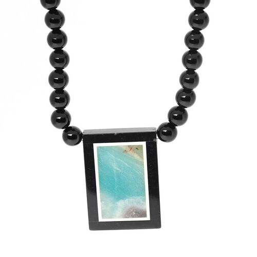 Black Agate Necklace (Size 18) in Stainless Steel 160.00 Ct.