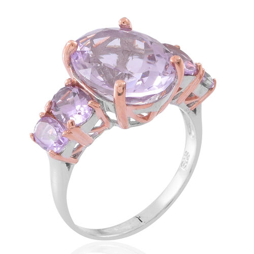 Rose De France Amethyst (Ovl 8.75 Ct) 5 Stone Ring in Rhodium and Rose Gold Plated Sterling Silver 11.000 Ct.