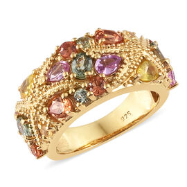 Multi Gem Stone 14K Gold Overlay Sterling Silver Ring  3.000  Ct.