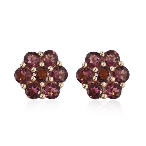 9K Yellow Gold AA Pink Tourmaline (Rnd) Floral Stud Earrings (with Push Back) 1.500 Ct.