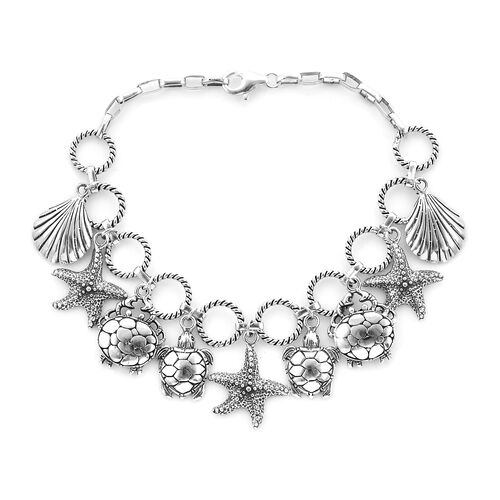 Royal Bali Starfish Turtle and Sea shell Charm Bracelet in Sterling Silver 23.60 Grams 8 Inch