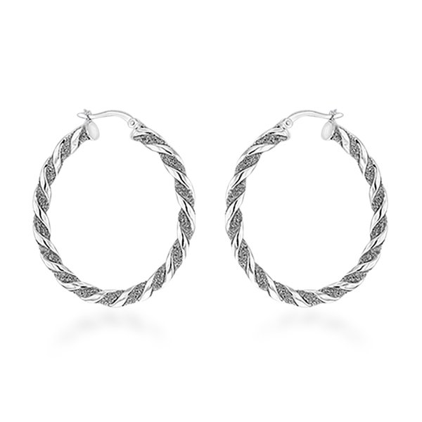 Rhodium Overlay Sterling Silver Twist Creole Hoop Earrings (with Clasp)