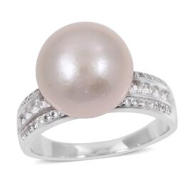 Edison Pearl (Rnd) and Natural White Cambodian Zircon Ring in Rhodium Overlay Sterling Silver.
