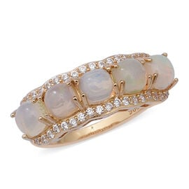 2.85 Ct Ethiopian Welo Opal and Cambodian White Zircon 5 Stone Ring in Gold Plated Sterling Silver