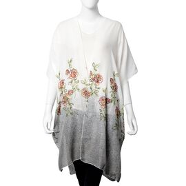 Designer Inspired- Floral Pattern Embroidery Kimono (Size 90x90 Cm) - Grey and White Colour