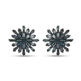 MP Blue Diamond (Bgt) Snow Flake Earrings (with Push Back) in Platinum and Blue Overlay Sterling Sil