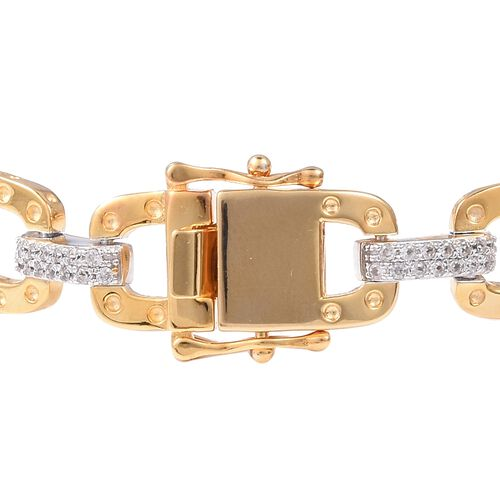 RACHEL GALLEY Majestic Collection- Natural White Cambodian Zircon (Rnd) Bracelet (Size 8.25) in Rhodium and Yellow Gold Plated Sterling Silver