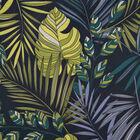 Blue, Yellow and Multi Colour Leaf Pattern Kimono (Size 116.8X96.5cm)