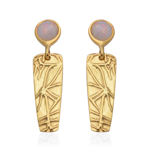 AA Ethiopian Welo Opal Earrings (with Push Back) in Yellow Gold Overlay Sterling Silver 1.20 Ct