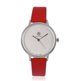 STRADA Japanese Movement White and Silver Dial Water Resistant Watch in Silver Tone with Red Colour Strap