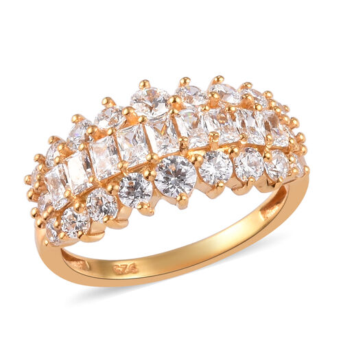 J Francis 14K Gold Overlay Sterling Silver Cluster Ring Made with SWAROVSKI ZIRCONIA 3.03 Ct.