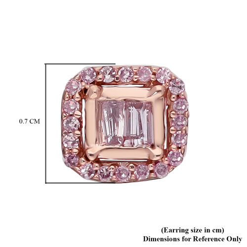 9K Rose Gold Natural Pink Diamond (I2-I3) Stud Earrings (with Push Back) 0.25 Ct.