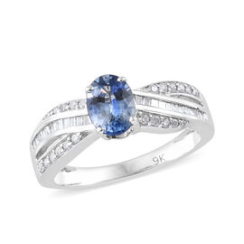 1.15 Ct AA Blue Sapphire and Diamond Solitaire Design Ring in 9K White Gold 2.56 Grams