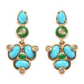 Arizona Sleeping Beauty Turquoise, Natural Cambodian Zircon Enamelled Earrings (with Push Back) in 1