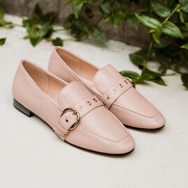Ravel Ramona Loafers with gold Tone Buckle Detail in Blush nude