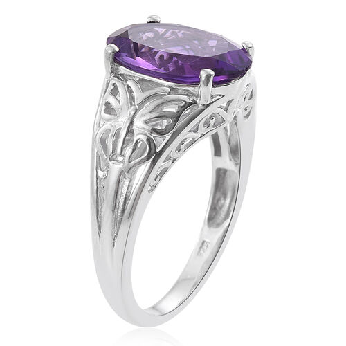 Amethyst (Ovl) Solitaire Ring in Platinum Overlay Sterling Silver 5.500 Ct.