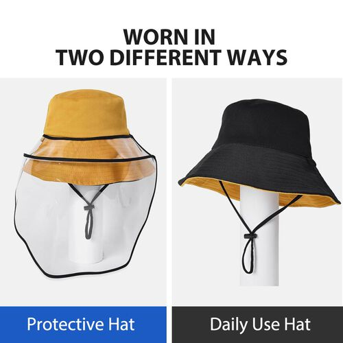 Bucket Protection Hat with Detachable Safety Protective Face Eye Shield Screen (Perimeter: 57Cm) - Orange and Black