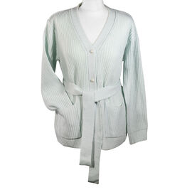 LA MAREY 100% Acrylic Knit cardigan with waistband - Ice Blue