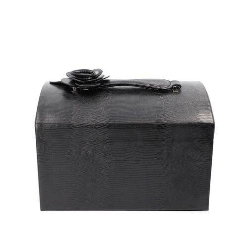 Grace Collection - Three Layer Lizard Skin Pattern Anti-Tarnish Jewellery Box with 3D Flower Handle, Coded Lock & Velvet Lining (Size 30x20x19cm) - Black