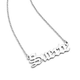 """Personalised Name Necklace in Brass with Steel Chain, Font- Old English Text MT, Size 18+2"""""""